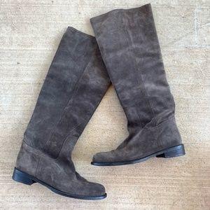 GARNET HILL Almond Toe Suede Heeled Mid-Calf Boots